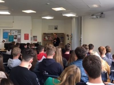 Sam Handy, former student and Vice Chair of design at Adidas visits the Purbeck School