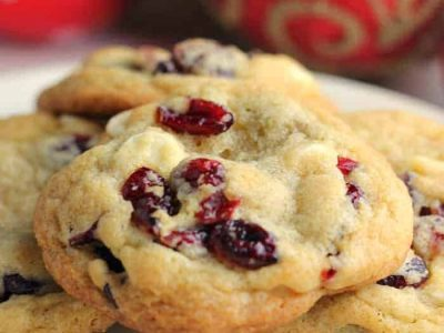 Festive White Chocolate & Cranberry biscuits